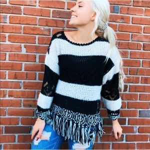 Easel Knit tassel black and white sweater fringe